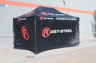 3x4,5m pop up tent with RST-Steel logo